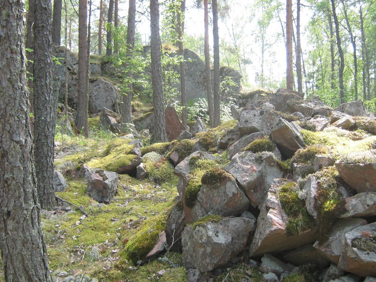 Старая монастырская каменоломня гранитов на о. Сюскюянсаари. Фото Борисова И.В.