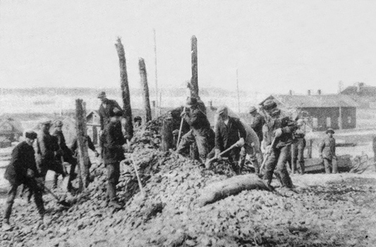 Строительство железной дороги в Импилахти, 1930 год