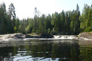"""Один из самых красивых порогов на реке Ууксунйоки - Jukakoski с фотографиями и картой проезда. Среди первых водников, до 2000 годов порог имел название - Лапа. Лоция 1999 г - """" Порог..."""